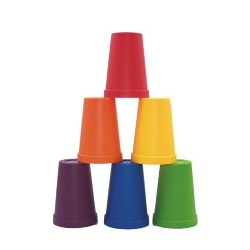 Free Shipping 6 Colors Red Orange Yellow Blue Green Purple Stacking Cup For Counting Bears Montessori Rainbow Matching Game Math