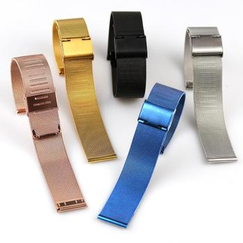Watch Band Strap 8mm 10mm 12mm 14mm 16mm 18mm 20mm 22mm 24mm Milanese Watchband  Silver Stainless Steel Leather Rose Gold Color maikes stainless steel watch buckle 16mm 18mm 20mm 22mm 24mm 26mm black silver rose gold leather watch band buckle