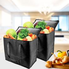 2 szt Wytrzymałe wytrzymałe izolowane torby spożywcze przenośne składane wielokrotnego użytku włókniny zakupy wolnostojące z uchwytem zmywalne tanie tanio NINEFOX Żywności