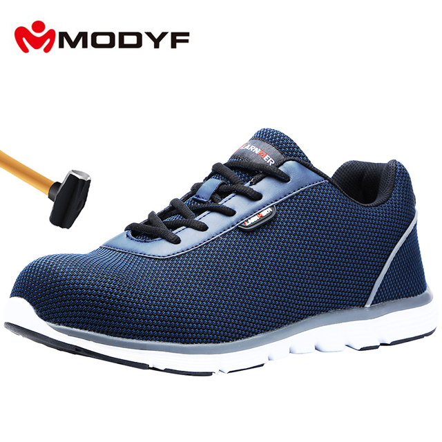 MODYF Men's' Steel Toe Safety Work Shoes Lightweight Breathable Construction Sneaker Anti smashing Non slip Reflective Shoes