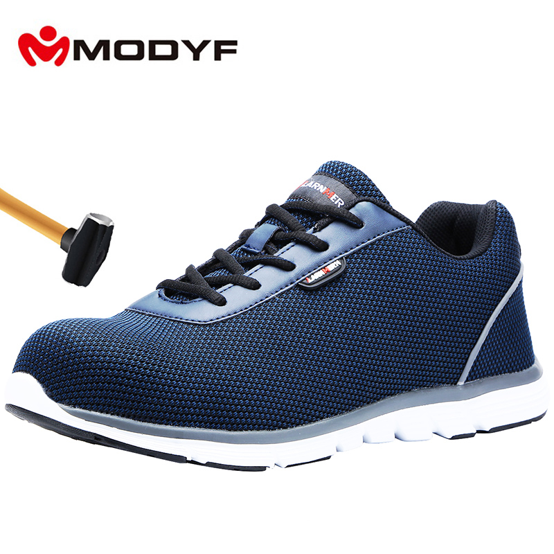 MODYF Men's' Steel Toe Safety Work Shoes Lightweight Breathable Construction Sneaker Anti-smashing Non-slip Reflective Shoes