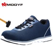 MODYF גברים של פלדה הבוהן בטיחות בעבודת נעליים קל משקל לנשימה בנייה נעל אנטי לנפץ החלקה רעיוני נעליים