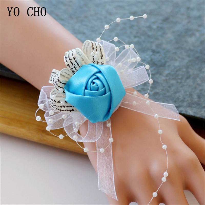 YO CHO Bride Wrist Corsage Bride Wedding Bracelet Bridesmaid Hand Flower Girl Party Prom Wrist Corsage Silk Rose Wedding Flowers