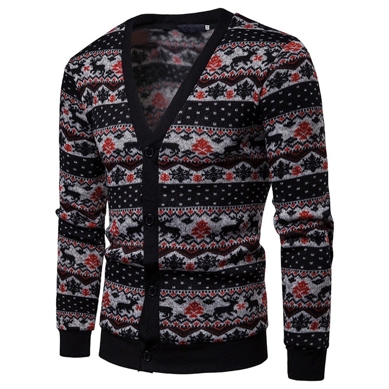 Christmas Sweater Men Winter Casual Wool Elk Printed Long Sleeve Matching Pull Homme Cardigan Pullover Tops Men Casaco Masculino