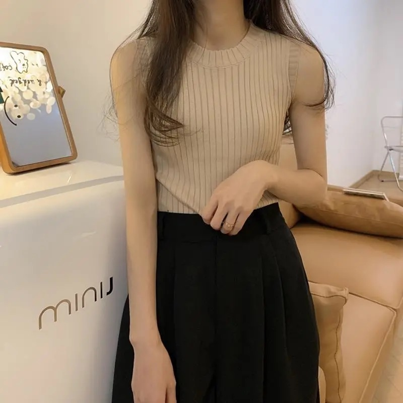 Camisole women's summer outer wear trendy summer new Korean version of the slim inner short knit top, all-match bottoming shirt 2