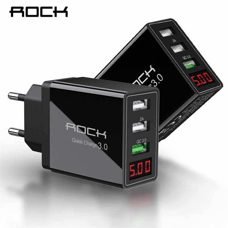 Rock display led qc 3.0 3a 3 usb carregador de telefone carregamento rápido para iphone xiaomi huawei p30 pro samsung rápido adaptador parede da ue turbo