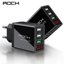 ROCK LED Display QC 3.0 3A 3 USB Phone Charger Fast Charging For iPhone Xiaomi Huawei P30 Pro Samsung EU Wall Adapter Turbo