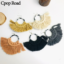 Cpop New Boho Circle Acrylic Handmade Macrame Earrings Fashion Ethnic Tassel Hot Women Accessories Bridesmaid Jewelry