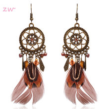 Ethnic Long Bohemia Feather Beaded Earrings For Women Dreamcatcher Round Wood Indian Gypsy Hippie Earrings Boucle Pendientes(China)