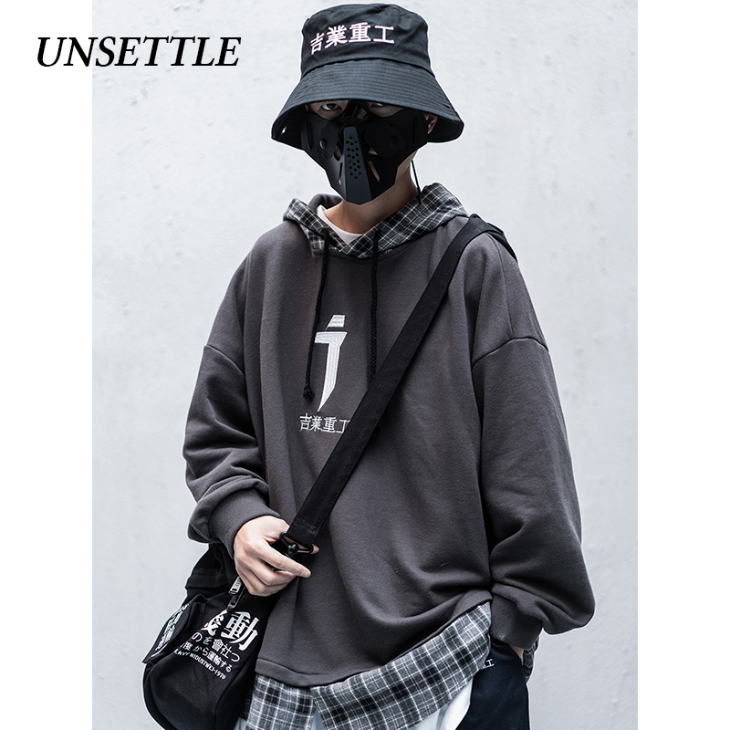 UNSETTLE 2020SS Embroidery Hoodies Men/Women Casual Plaid Hooded Patchwork Streetwear Sweatshirts Hip Hop Harajuku Male Tops