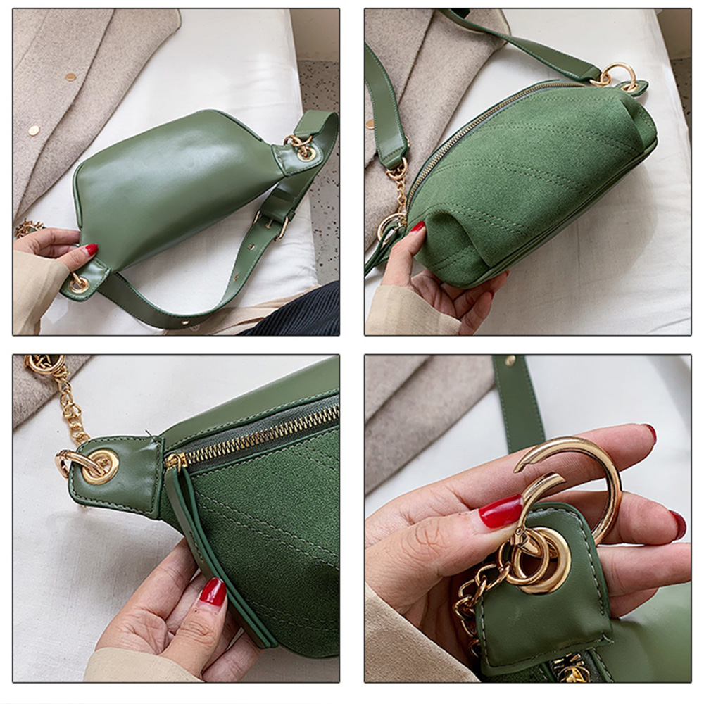 Fashion Chain Fanny Pack Banana Waist Bag New Brand Belt Bag Women Waist Pack PU Leather Chest bag Belly Bag