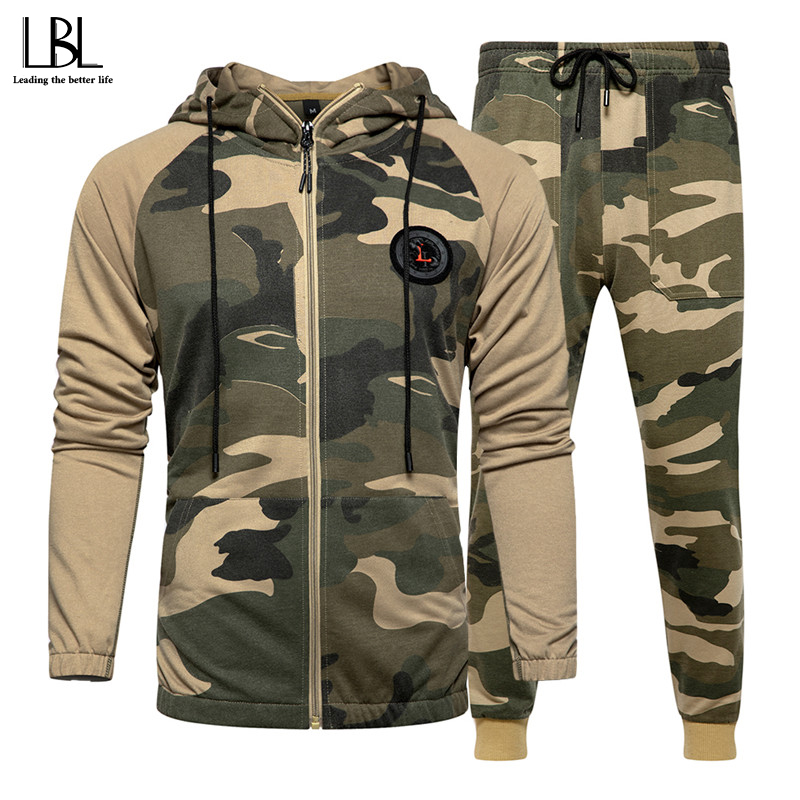 Tracksuit Men Camouflage Sportswear Mens Set Outwear Spring Autumn Hooded Jacket + PantSuit Male 2 Pieces Fitness Clothing 4XL