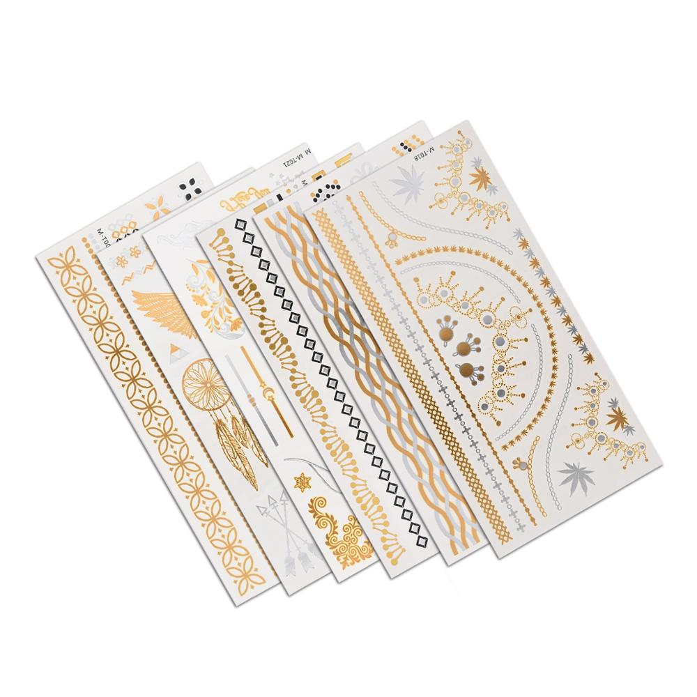 20*10cm Temporary Tattoo Sticker Fake Tattoo Gold Waterproof Egypt Style Striped Wings Image Temporary Tatoo For Girl Women