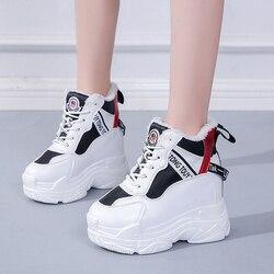 Rimocy/женские теплые зимние кроссовки со скрытым каблуком и плюшевой подкладкой; повседневная женская обувь на высокой платформе, визуально ...