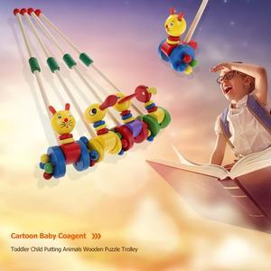 Image 2 - Bebê única barra coagente novo pato carro dos desenhos animados animais carrinho de madeira carrinho de criança criança criança colocando puzzle brinquedos