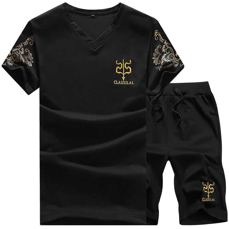 Zomer Mannen Sets Print Trainingspakken Casual Mannen 2 Stuk Set V-hals T-shirt + Shorts Sportkleding Plus Size Sport Pak joggers Outfits