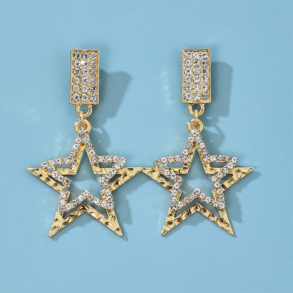 Earrings for Women Hollow Out Cubic Zirconia Double Star Earrings Fashion Banquet Couple Wedding Earrings Birthday Gift for Girl
