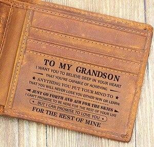 Чтобы мой правнук, тонкий мужской кожаный радиочастотный блокирующий минималистичный карточный передний карман, двойной заказ в подарочно...