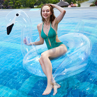 New Water Inflatable Toy Green PVC Transparent Sequined Swan Swimming Ring Swimming Pool Bathing Beach Kids Toy