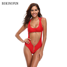 New Women Zipper Bikini Women Swimsuit High Waist Cut Out Swimwear Solid Red Bathing Suit S-XL Girl Backless Halter Bikini Set stylish cut out double halter women s bikini set
