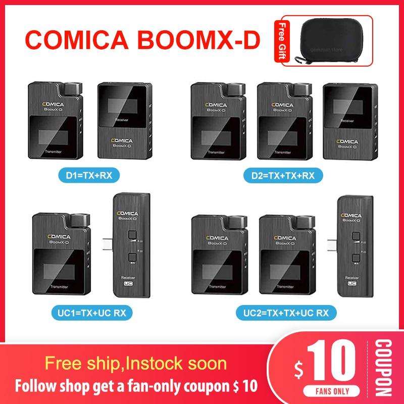 Comica boomx-d 2,4G micrófono Digital inalámbrico transmisor Kit Mini micrófono para móvil receptor para Smartphones video mic