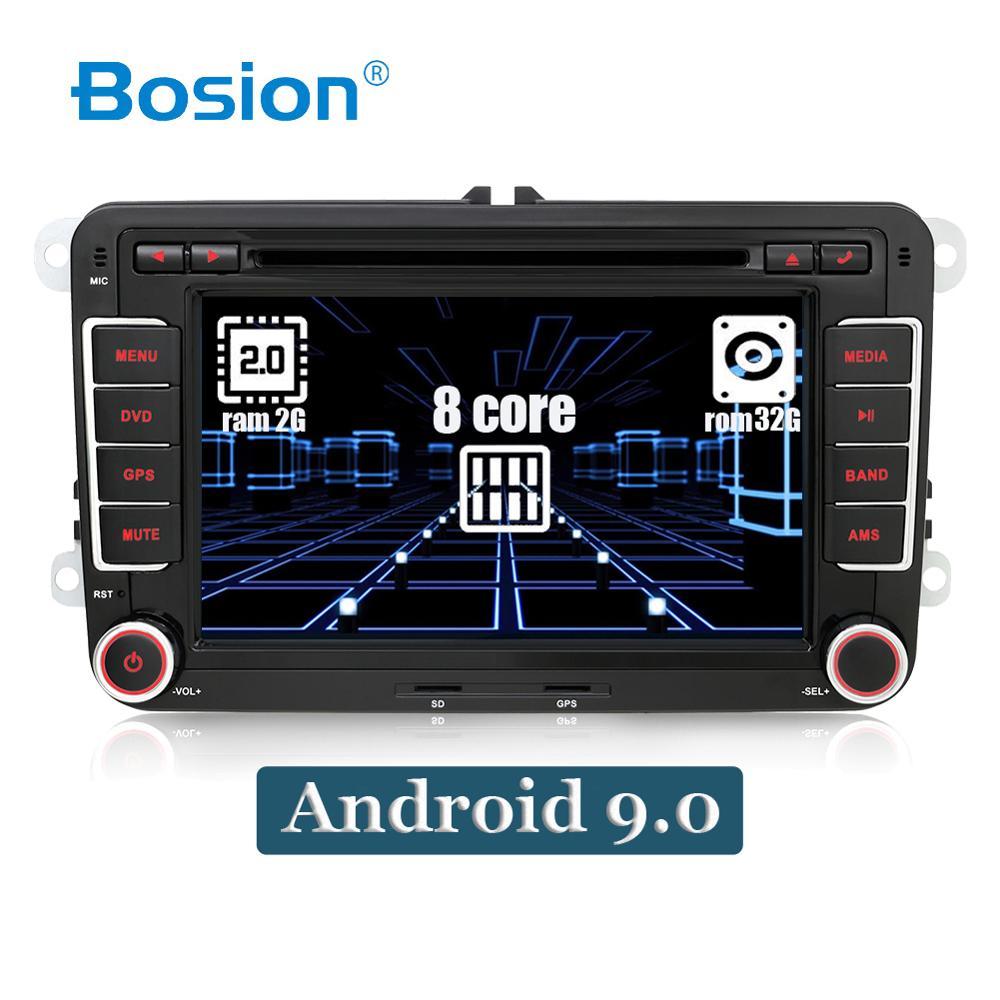 Octa núcleo android 9.0 2 din carro dvd para volkswagen golf/tiguan/skoda/fabia/rápido/seat/leon wifi bt rds dab + 3/4g navegação gps