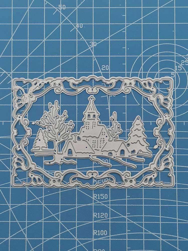 100*68 мм рождественский стиль дом тиснение высечка для DIY скрапбукинга альбома бумаги открытки, декоративные поделки тиснение высечки