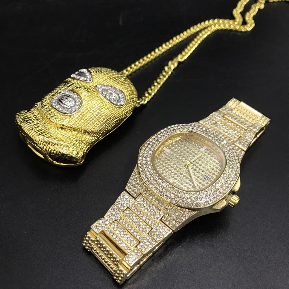 Luxury Men Gold Diamond Watch Men Watch & Braclete Combo Set Hip Hop Jewelry Stylish Ice Out Cuban Masked Human Head Necklace