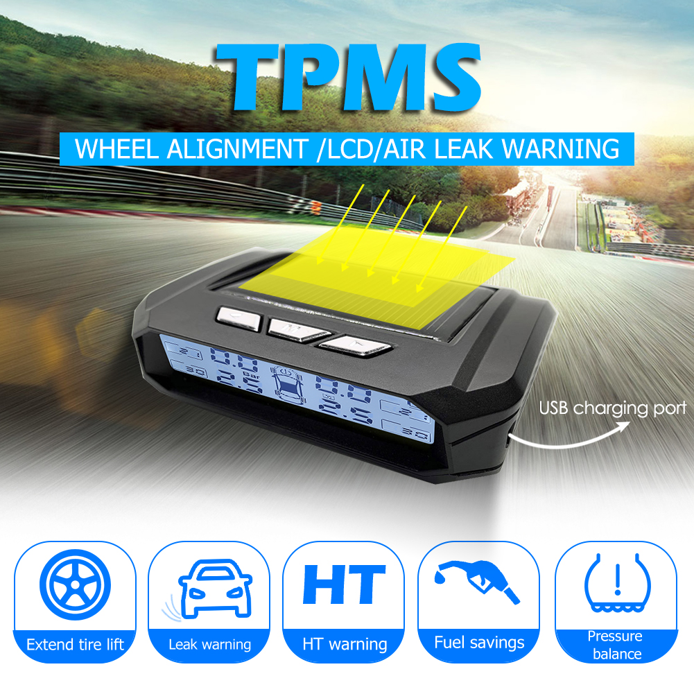 Car Tire Pressure Alarm Monitor System AN05 Wireless Solar Car TPMS Auto Tire Pressure Monitoring Tyre Temp Warning System