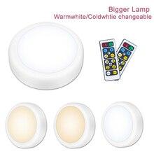 גדול יותר כפול צבע LED תחת קבינט אור שלט רחוק אלחוטי Dimmable לילה אורות סוללה תאורת לארון מטבח