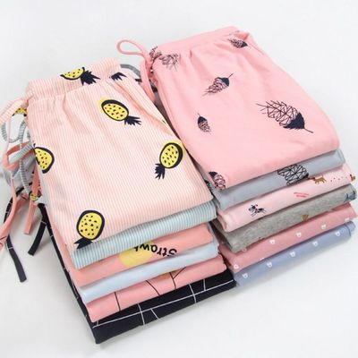 Knitted Cotton Home Drawstring Trousers Loose Casual Thin Section Sleeping Trousers Home Pants For Women Pajama Pants Sleep Bott