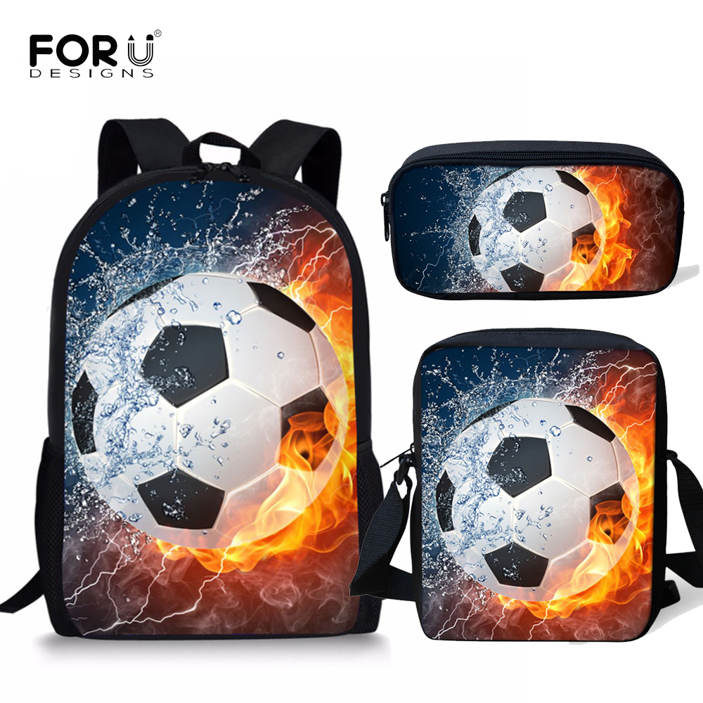 FORUDESIGNS Children School Bags For Boys 3D Ice And Fire Soccerly/Foot Ball Pattern Orthopedic Backpack Kids Book Bags 3pcs/Set