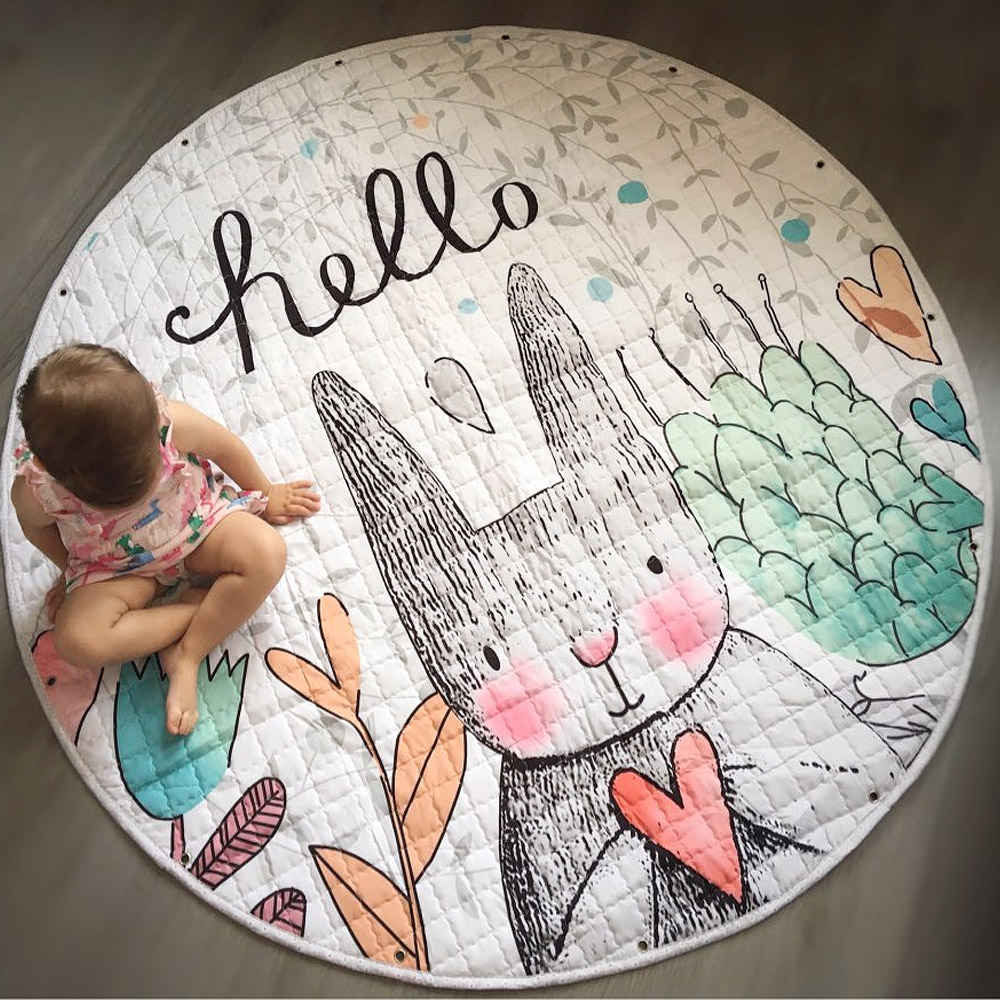 Round Rugs Baby Play Mat Toys Storage Organizer,Nursery Rugs Large Polyester Anti-slip Cartoon Animal Baby Floor Mat Game Mat