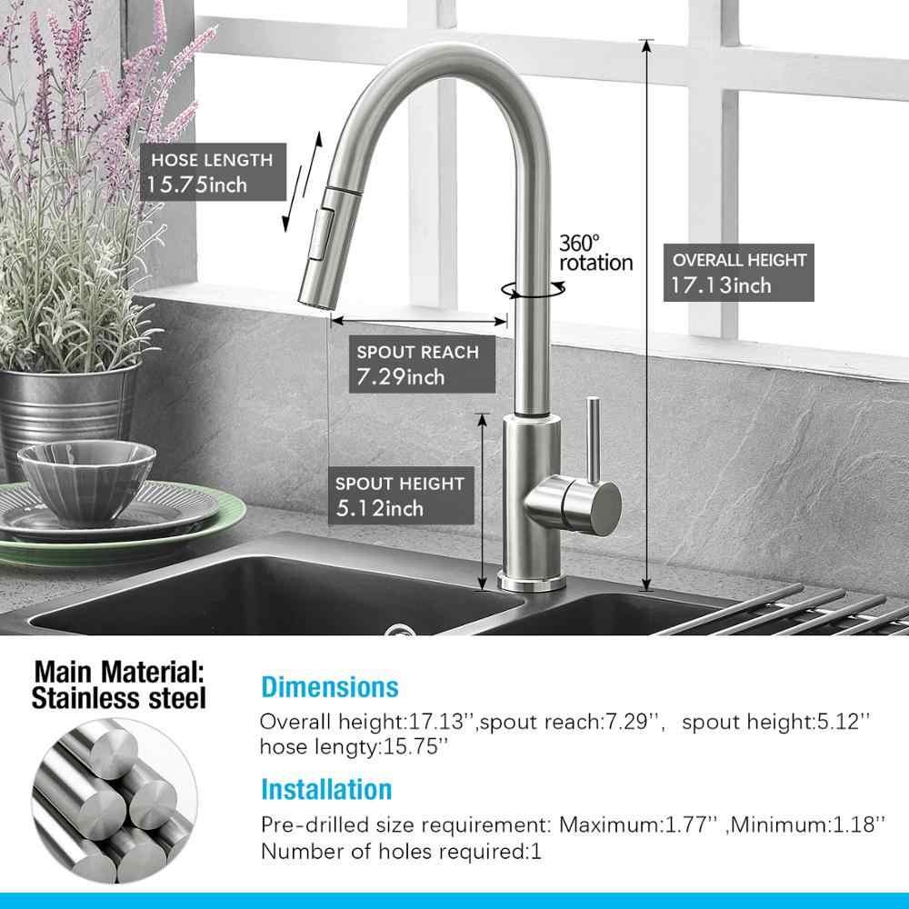 Trek Zwart Sensor Keuken Kranen Rvs Smart Inductie Gemengde Tap Touch Control Sink Tap Torneira De Cozinha