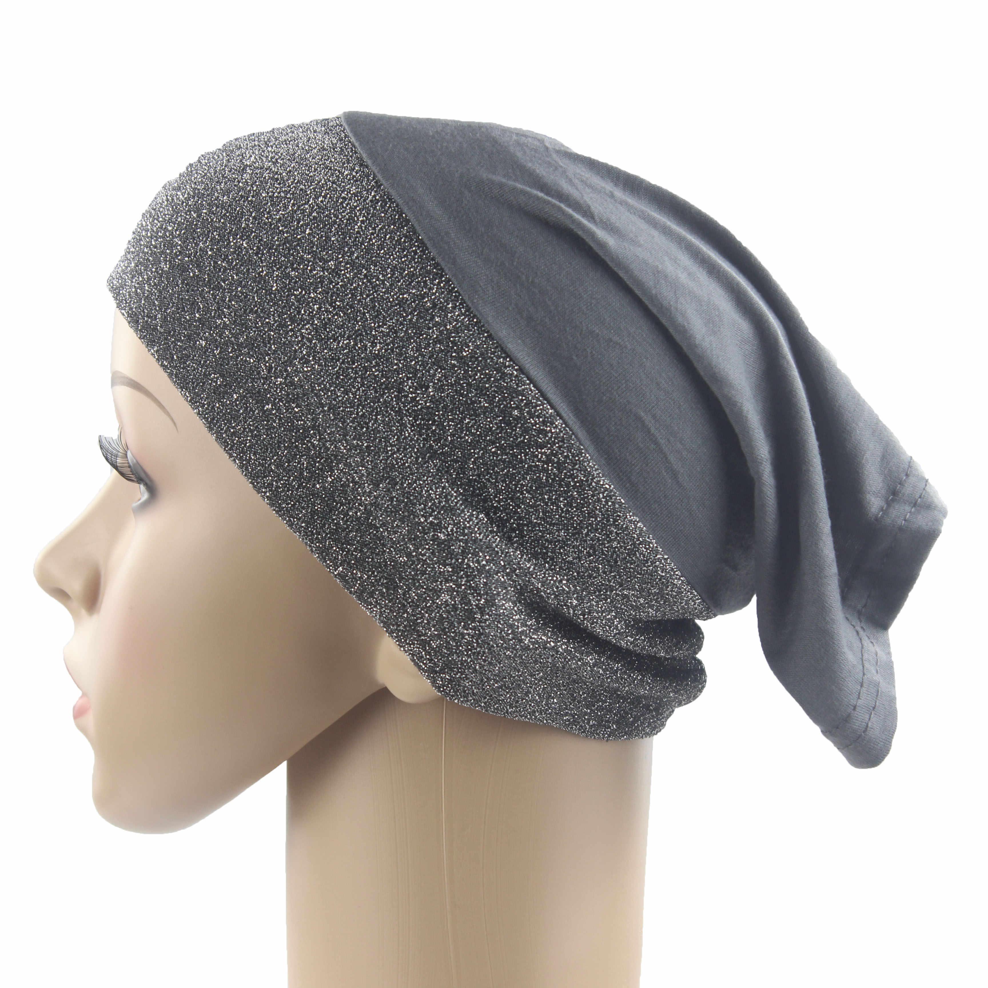 Le Donne musulmane Ragazze Underscarf Cappuccio Interno Cappelli Hijab Islamico Hejab Cuciture In Cotone Shimmer Materiale Molle di Stirata del Commercio All'ingrosso