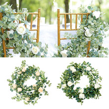 1.8M Artificial Rose Eucalyptus Vine Garland Hanging Rattan Vertical Garden white Fake Plants Leaves Wedding Backdrop Wall Decor