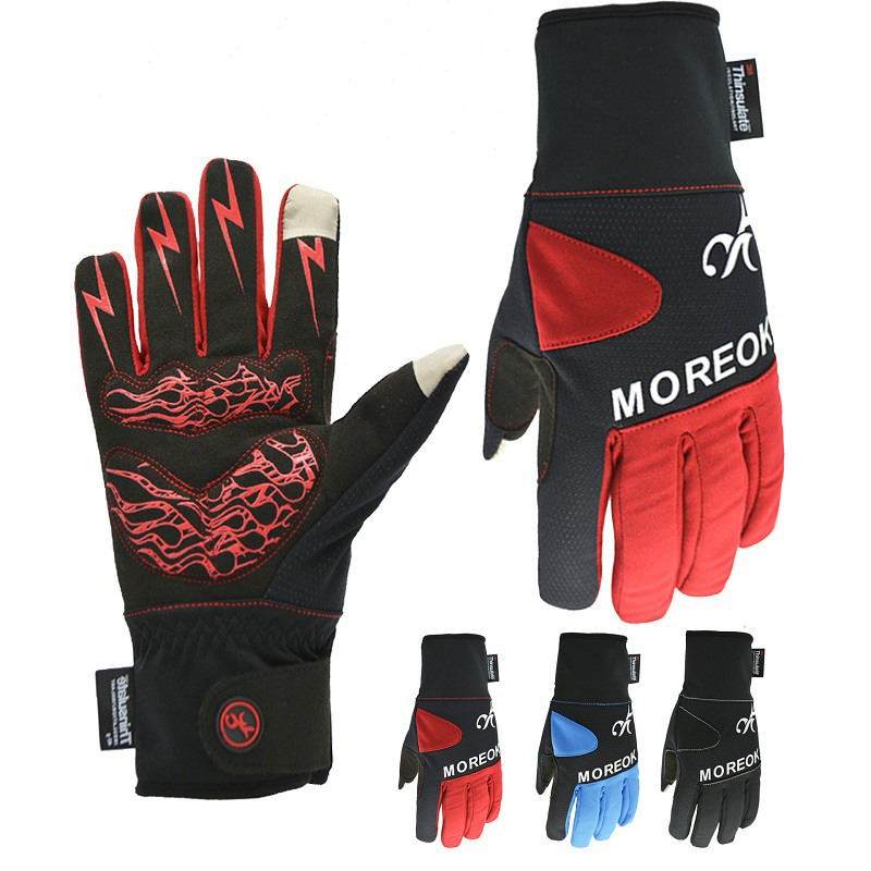 Windproof winter thermal fleece cycling glove Non-slip mountain road bike mittens full finger Sport mtb bicycle motorcycle glove
