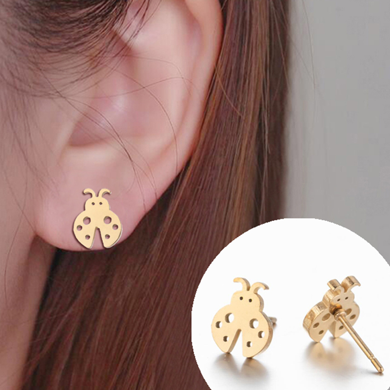 New Seven Star Ladybug Small Stud Earrings Cute Stainless Steel Gold Black Insect Girl Unusual Earrings Simple Jewelry Gift 2020