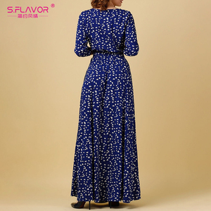 Image 2 - S.รส VINTAGE พิมพ์ชุดยาวผู้หญิงสบายๆฤดูใบไม้ผลิฤดูร้อน Elegant O คอผู้หญิง Maxi Vestidos ไม่มีกระเป๋า
