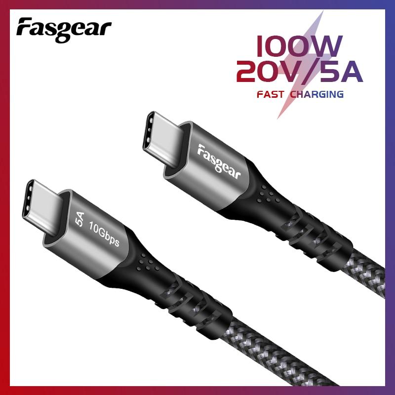Кабель зарядный Fasgear PD100W USB Type-C на USB C 3,1 Gen 2, 10 Гбит/с