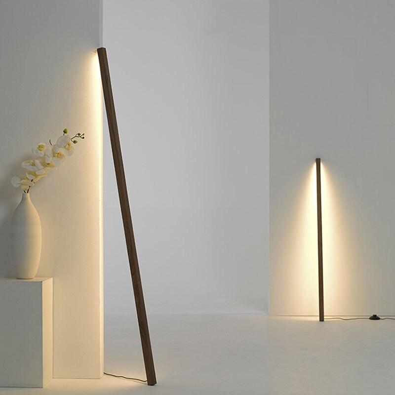 nordic minimalista lampadas de assoalho sala estar moderna madeira macica lampada pe casa simples vertical led