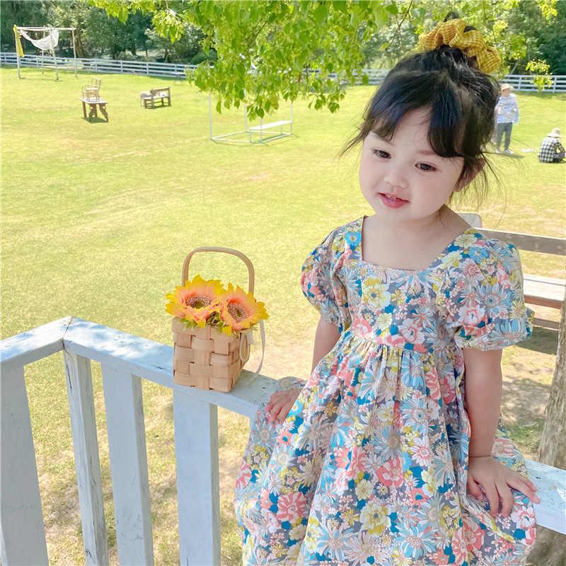 Vestidos infantis florais, vestidos florais para meninas, cruzamento, trás, 2020