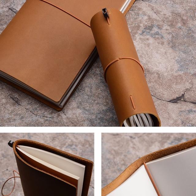 Traveler's Notebook A5 en cuir - Planner rechargeable - camel - tranche