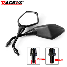 2Pcs Universual Motorcycle Mirror Scooter E Bike Rearview Mirrors Electrombile Back Side Convex Mirror 8mm 10mm Carbon Fiber