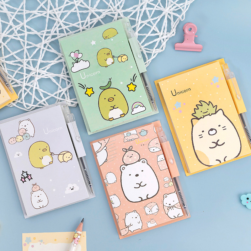 Kawaii Sumikko Gurashi With Pen Memo Pad Loose Leaf Notes Escolar Papelaria School Supply Bookmark Label