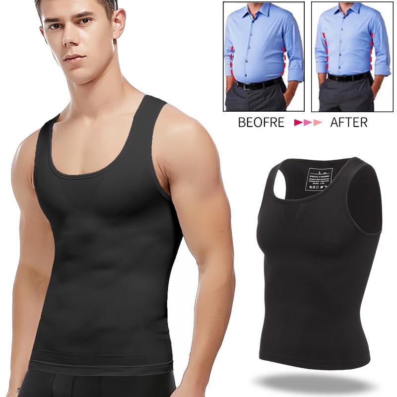 Men Slimming Fit Shirt Vest Compression Shaper Top Tummy Control Workout Tank US