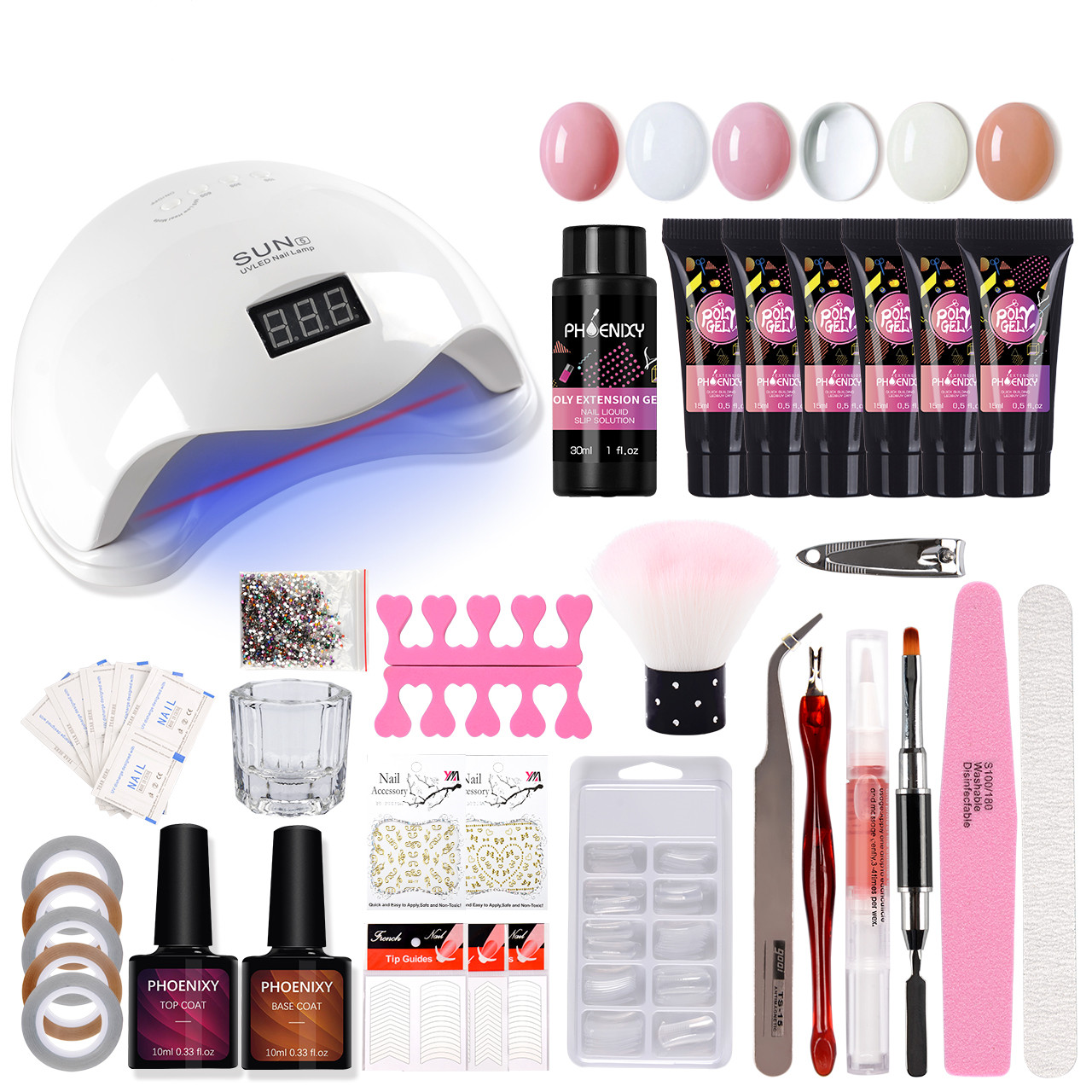 Polygel Nail Kit 48W UV Lamp Full Quickly Extension Gel Poly Gel Nail Brush Complete Nail Drill Manicure Acrylic Nail