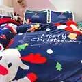 2020 novo feliz natal conjuntos de cama azul conjunto de cama papai noel meias natal elk boneco de neve roupa única/cama dupla