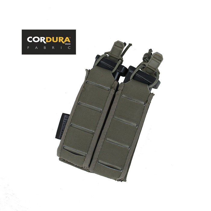 TMC 9mm Stackable Double Pistol Magazine Pouch Molle Open Top Mag Pouch Ranger Green BK WG(SKU051423)