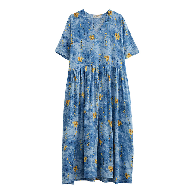 Uego Short Sleeve Loose Summer Dress Soft Cotton Linen Print Floral tender Ladies Dress Plus Size Women Holiday Casual Dress 3